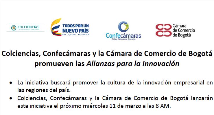 Colciencias, Confecámaras y la Cámara de Comercio de Bogotá promueven las Alianzas para la Innovación