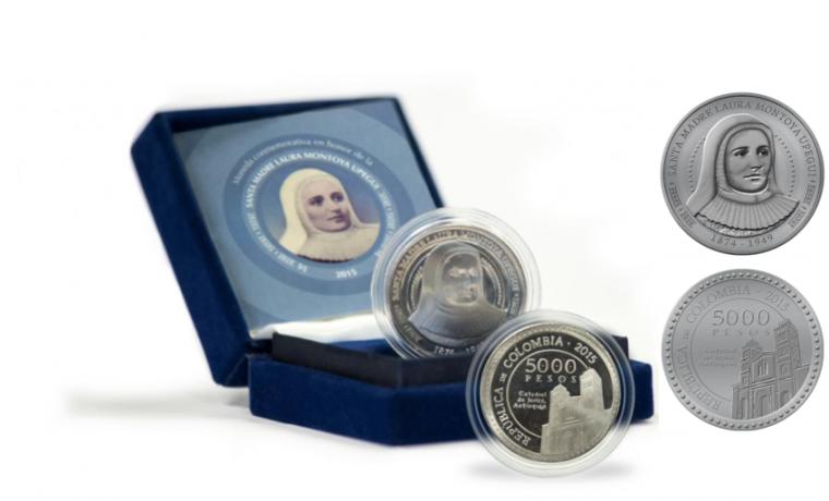 Moneda conmemorativa de Laura Montoya, la primera santa de Colombia