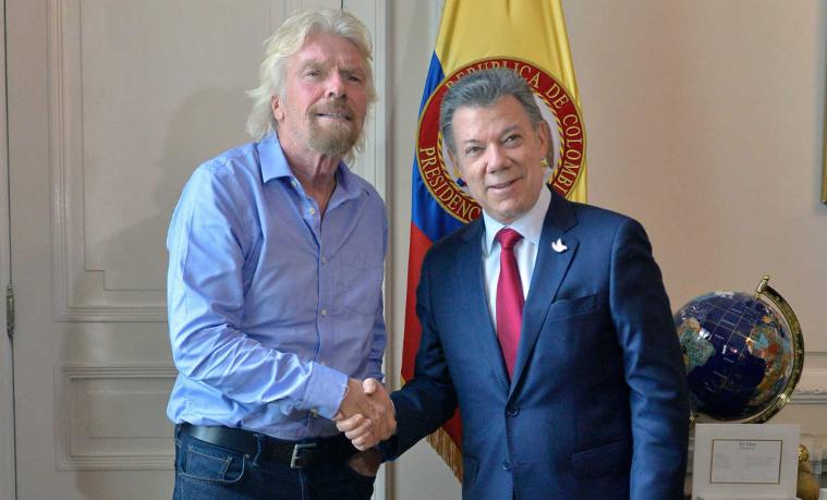 Richard Branson ofrece su apoyo al proceso de paz en Colombia