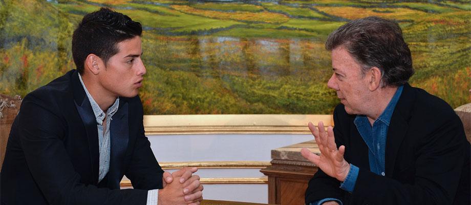 James, embajador volante de Colombia: Santos