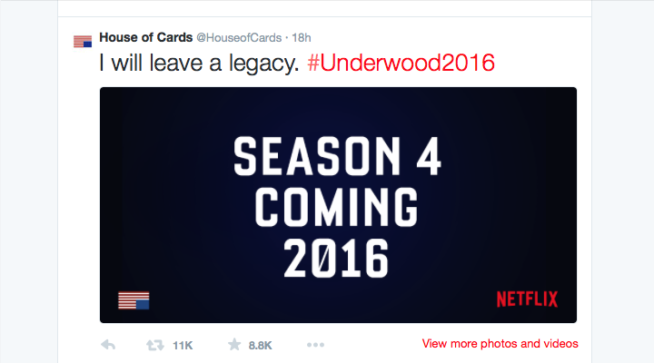 "Netflix anuncia la cuarta temporada de ""House of Cards"""
