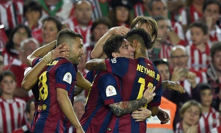 Dos goles de Messi y uno de Neymar dan victoria al Barça