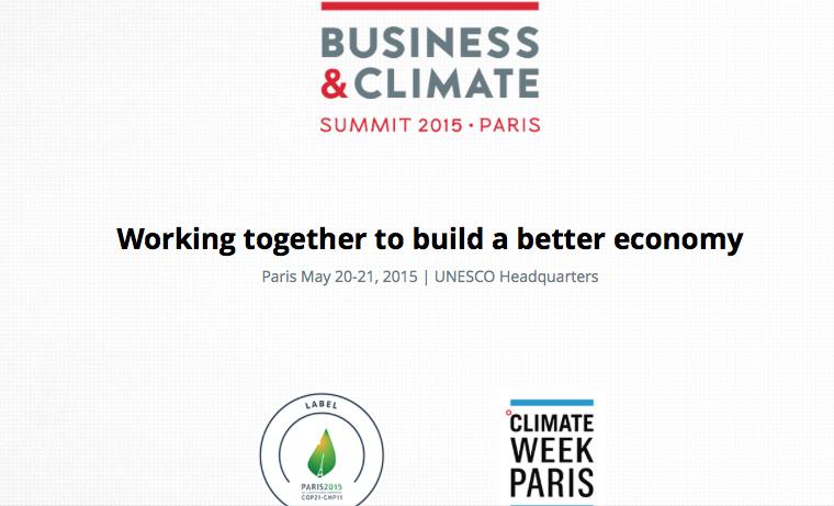 "Reunión de empresarios sobre cambio climático antes del ""Business and Climate Summit"""