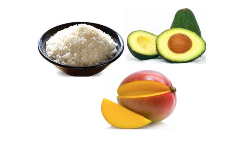 Arroz, Mango y Aguacate para niños
