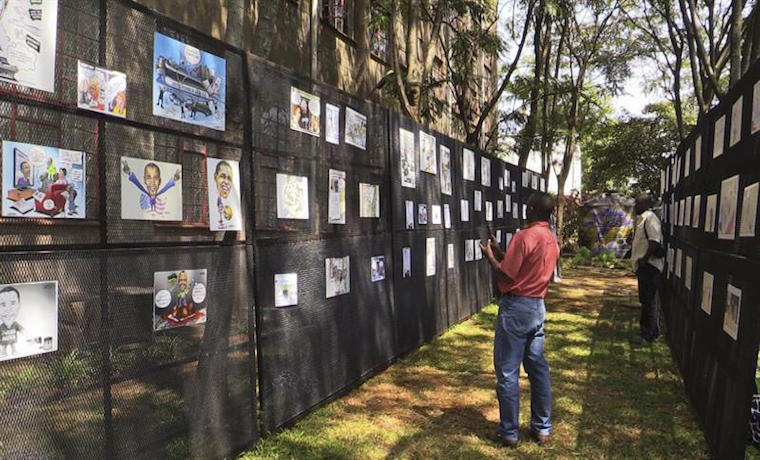 Artistas kenianos caricaturizan el viaje africano de Barack Obama