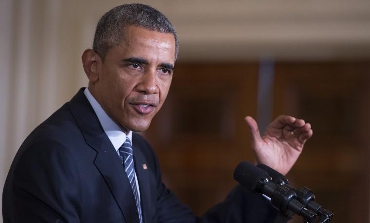 Presidente Barack Obama habla sobre su primer plan para limitar las emisiones resultantes de la generación de energía en el país. Agosto 3, 2015. Washington, D.C. AFP PHOTO/JIM WATSON