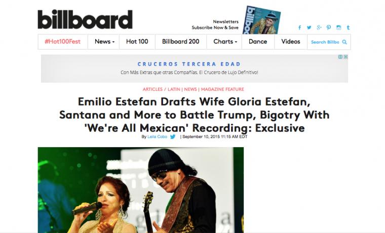 Shakira, Santana, y Gloria Estefan cantarán una canción contra Donald Trump