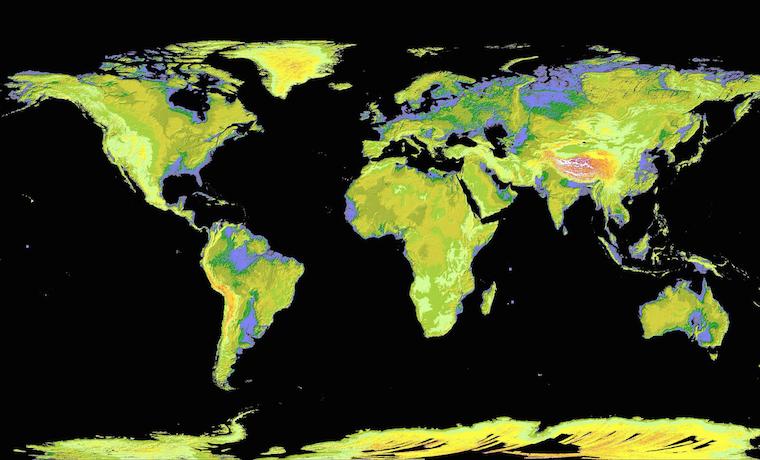 En este mapa, las zonas mostradas en púrpura son aquellas zonas vulnerables a la subida del nivel del mar. NASA. Imagen de dominio público, 2009.