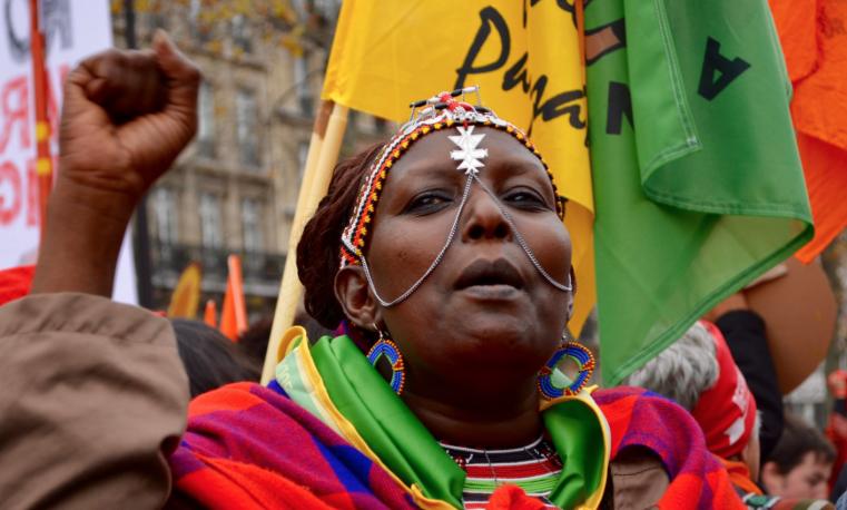 Manifestación en París durante COP21. Foto: Salena Tramel. FIAN