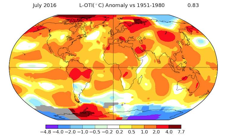 Julio fue el mes más caluroso en 137 años de registros