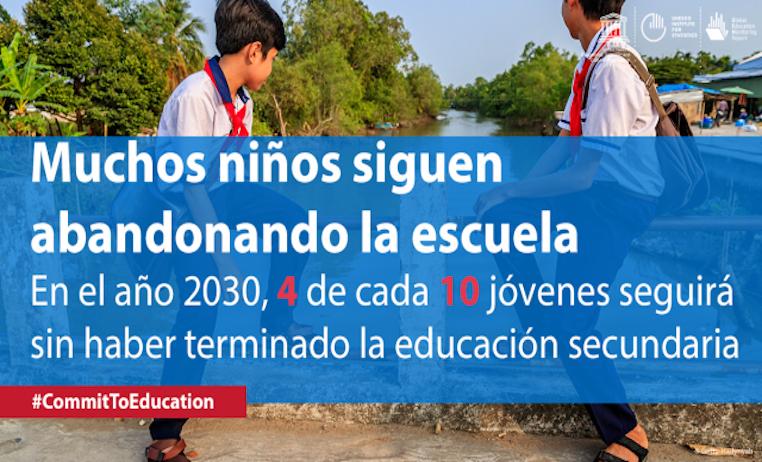 El mundo no está en camino de cumplir sus compromisos de educación para2030